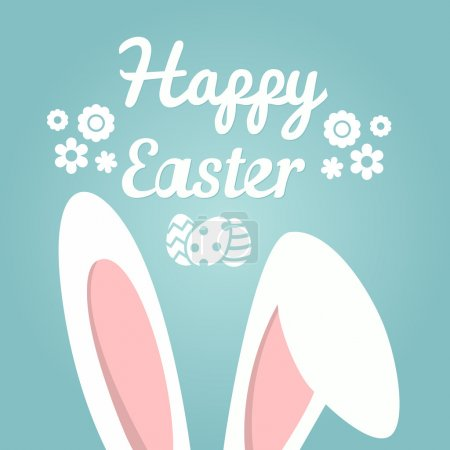 Illustration for Happy Easter Background. Easter Bunny Ears Against Blue Background - Royalty Free Image