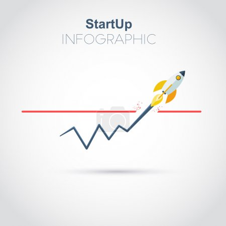 Illustration for Startup infographic new business. Flat design vector illustration. - Royalty Free Image