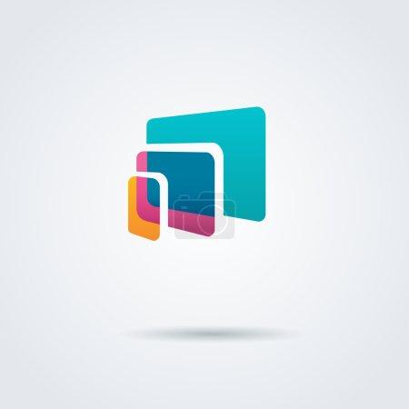 Illustration pour Ordinateur portable coloré, tablette, logos de téléphone sur fond blanc - image libre de droit