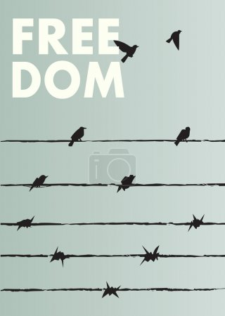 Poster freedom with barbed wire and birds