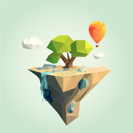 Illustration for Vector colorful low poly island with air balloon - Royalty Free Image