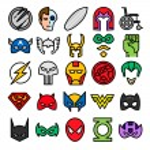 Superheroes set icons agains white background...