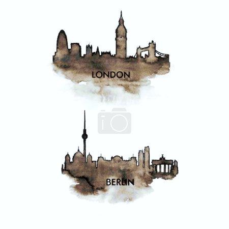 Photo pour Silhouettes Londres et Berlin, panorama aquarelle à l'encre noire, sur papier fait main pour vos situations de design, vecteur - image libre de droit