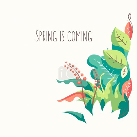Illustration for Spring is coming background. Colorful flowers against white background - Royalty Free Image