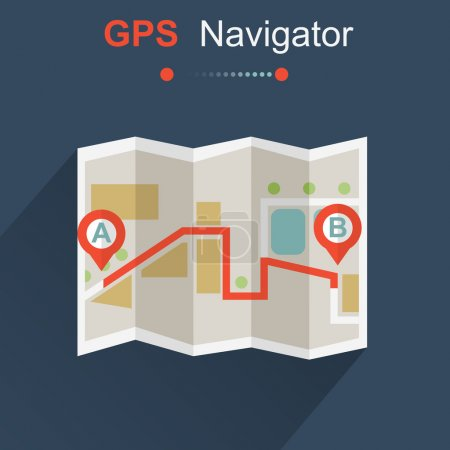 Illustration for GPS navigator map against dark blue background - Royalty Free Image