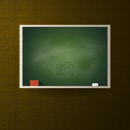 Illustration pour Tableau noir vide vert avec cadre contre mur vert - image libre de droit