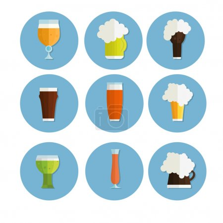Illustration for Drink alcohol beverage icons set vector - Royalty Free Image