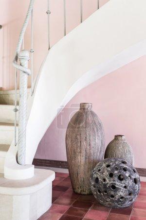 Decorative stone lamp with round holes