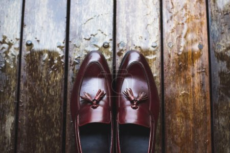 Leather shoes with raindrops