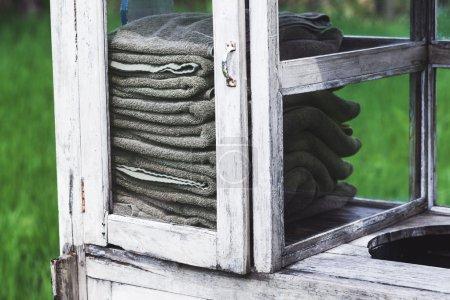 Clean towels in vintage box