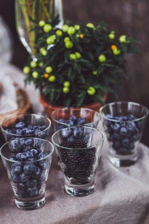 Fresh berries in glasses