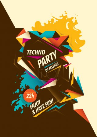 Abstract techno party poster.