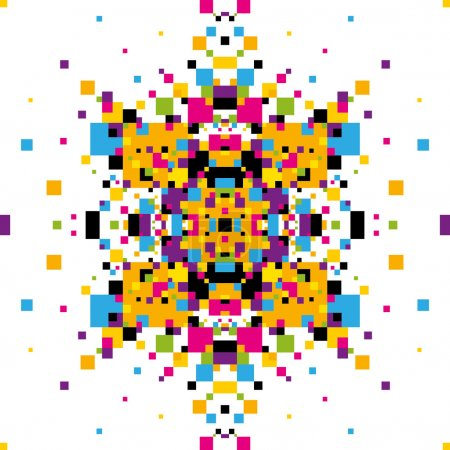Abstract graphic with colorful geometric elements.