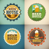 Set of beer house labels Vector illustration
