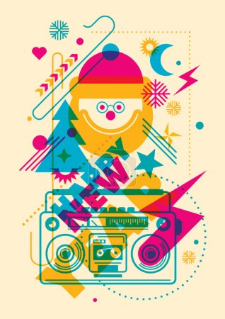 Colorful New Year illustration.