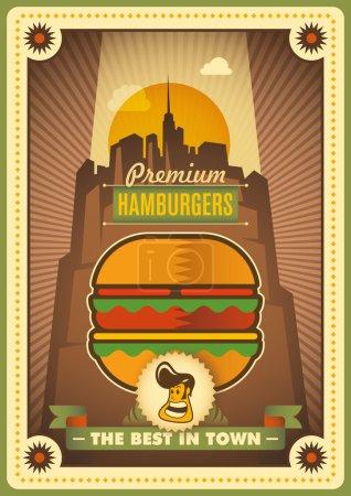 Retro hamburger poster design.