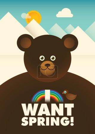 Comic illustration with bear.