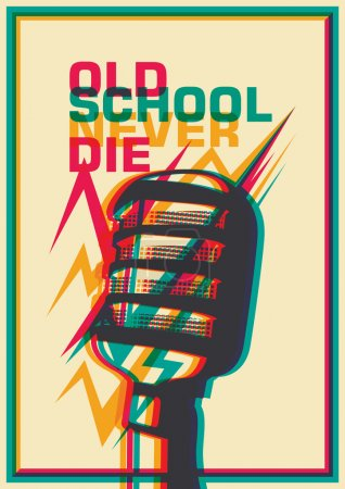 Retro poster with microphone.