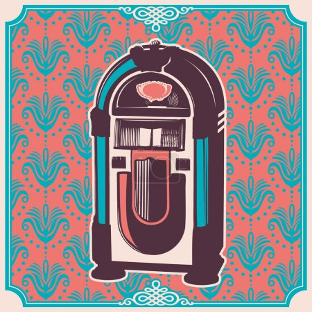 Vintage illustration with jukebox.