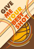 Illustrated basketball poster design with slogan