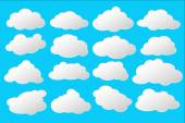 Simple and lovely white and grey clouds with space for text vector clip art flat illustration stylized as comisc speech bubbles on blue background