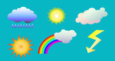 Weather objects isolated vector clip art illustration of clouds sun rainbow rain and flash for weather forecast on blue background