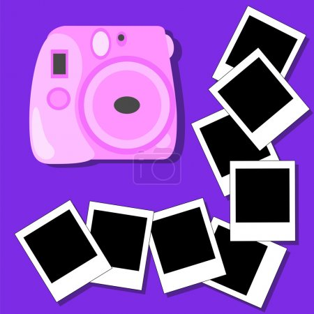 Instant camera and photos flat vector illustration on blue background
