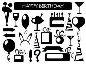Birthday icons black and white vector illustrations set of isolated elements on white background happy birthday ribbon candled cake birthday presents air balloons party drink party ornament