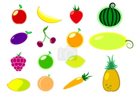 Fruit and vegetables flat style vector illustration