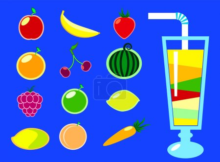 Summer fruits and smoothie glass flat style vector illustration on blue