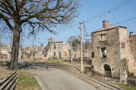 The ruined street of Oradour sur Glane. In this village, 642 of its inhabitants were massacred by a German Waffen - SS company in the second world war