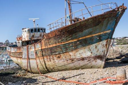 Abandoned shipwrecks on beach