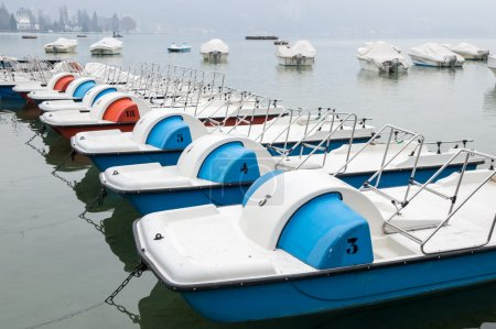 Colorful pedalos on the lake