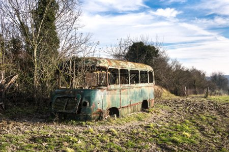 Stripped rusty, old bus