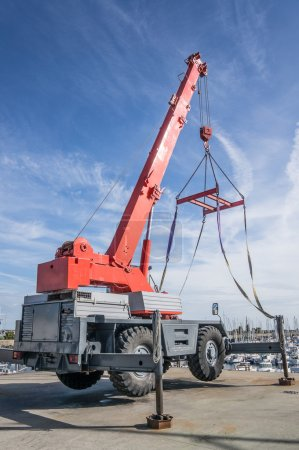 Red truck crane