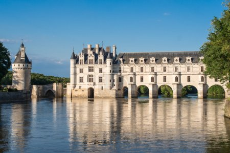 Photo for Chenonceau castle at dusk, in the loire valley, france - Royalty Free Image