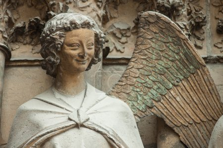 Washed-out statue of angel