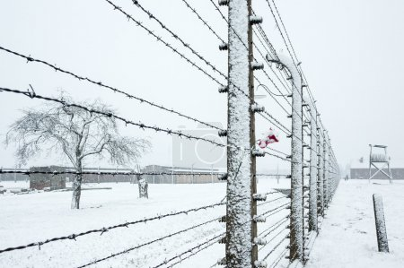 Snow covered concentration camp of Auschwitz Birke...