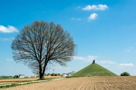 Photo for Lion's Mound, Monument raised on the battlefield of Waterloo where Napoleon was defeated, Belgium - Royalty Free Image
