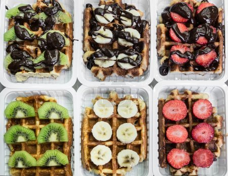 Various waffles in Brussels, Belgium