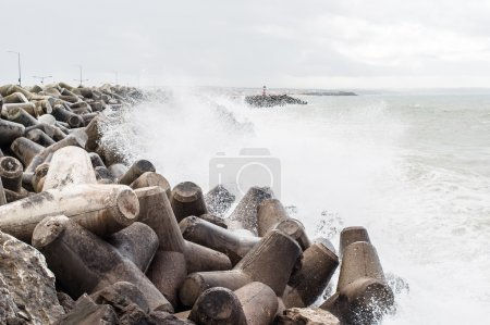 Concrete block breakwater