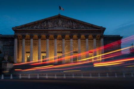 Palais Bourbon at dusk