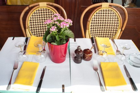 Table Set with pink flowers
