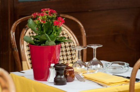Table Set with red flowers