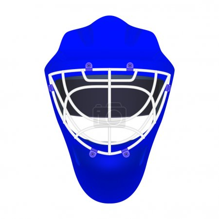 Blue goalie hockey helmet