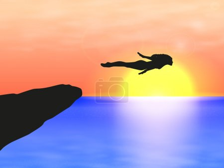Illustration for Vector illustration of a girl jumping into the sea from a cliff. Female silhouette on sunset at sea. - Royalty Free Image