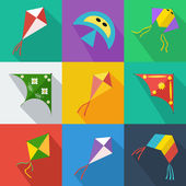 Set of icons of colorful kites