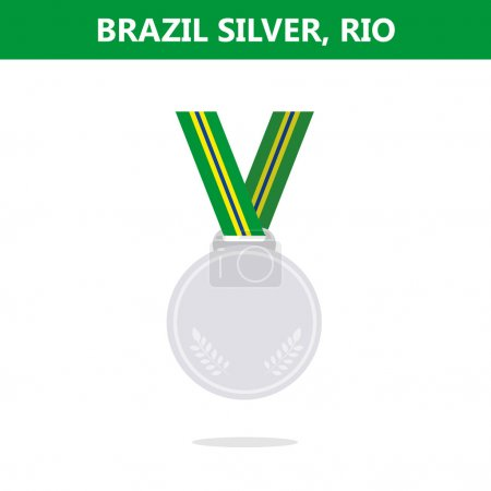Silver medal. Brazil. Rio. Olympic games 2016. Vector illustration.