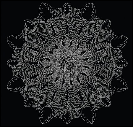 Circular abstract picture. Blackly white illustration