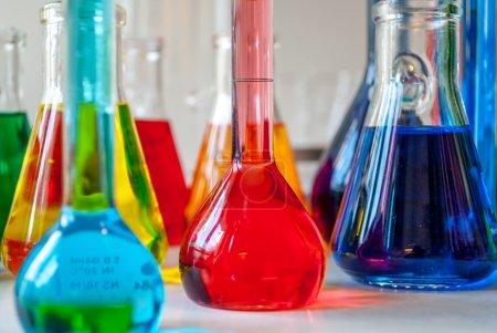 Chemistry multicolored glassware